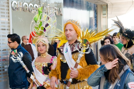 MALAGA, SPAIN - FEBRUARY 19: Unidentified people in costumes during the traditional Malaga carnival on February 19, 2012 in Malaga, Spain.