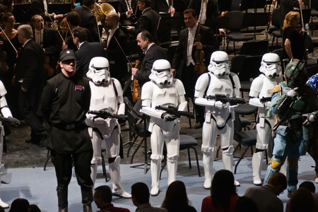 MALAGA, SPAIN - FEBRUARY 25: Star Wars Storm Troopers in a concert in Cervantes theater on February 25, 2012 in Malaga, Spain.