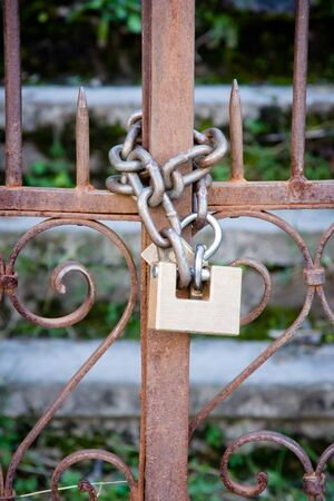 padlock and chain in a door Stock Photo - 13044617