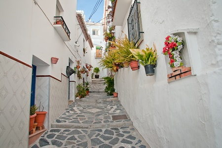 Canillas de Albaida in Spain, a traditional white townvillage Stock Photo