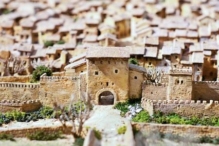 Panoramic view of Xativa, Valencia, Spain. Medieval representation. Stock Photo - 13118632