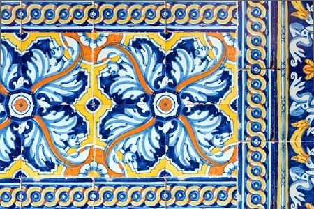 old spanish ceramic tiles wall decoration photo