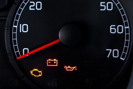 engine oil: Close up of car dashboard Stock Photo