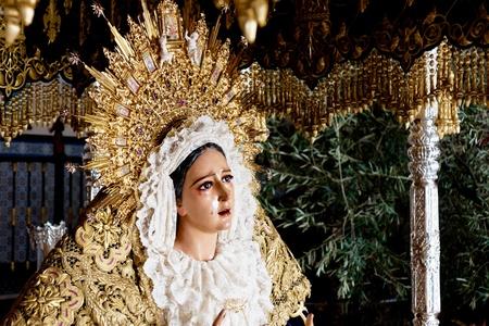 semana santa: holy week in Malaga, Spain. Grace virgin.  Stock Photo