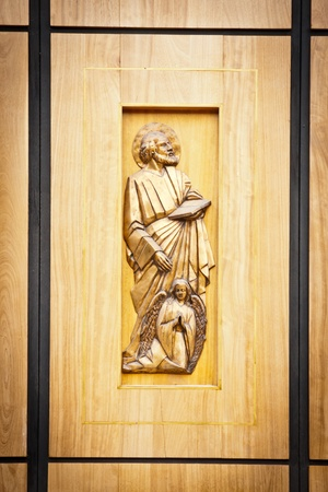 details of a wooden church door  photo
