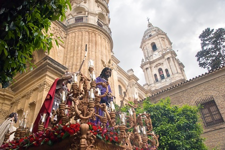 holy week in Malaga, Spain. Dulce Nombre procession Stock Photo