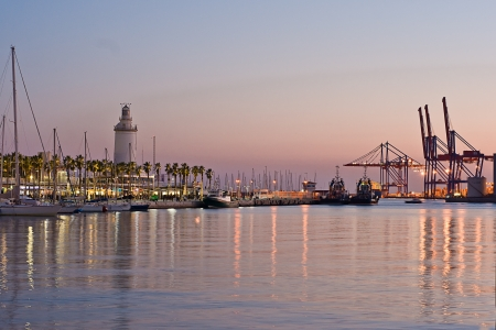 malaga: Malaga port, Spain  at night