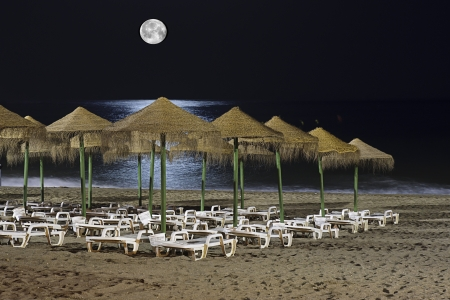 hammocks at night in a beach photo