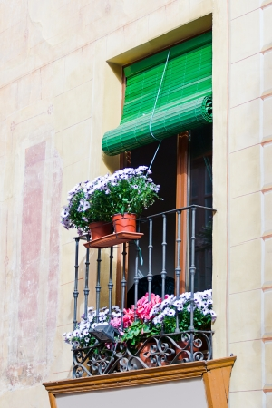 balcony with pots in Toledo, Spain photo