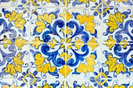 vintage spanish style ceramic tiles wall decoration photo