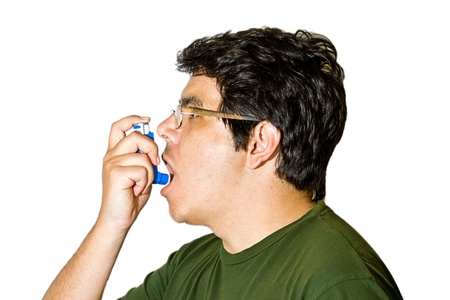 inhaler: asthmatic man