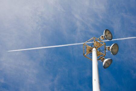 street light on blue sky with a plane Stock Photo - 14950686