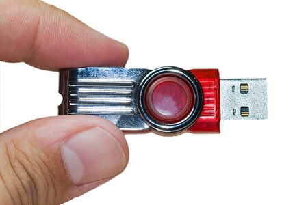 man holding a red pendrive Stock Photo - 15405467