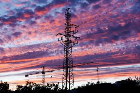 electrical tower at sunset photo