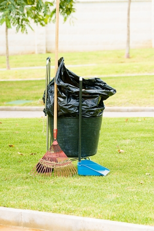 sweeper in a park