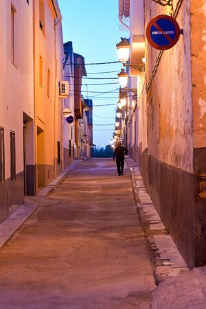 street at night in Xativa in Valencia, Spain photo