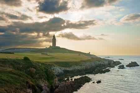 galizia: Ercole Torre in A, Coru�a Spagna al tramonto
