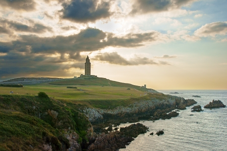 Hercules Tower in A Coruna, Spain at sunset