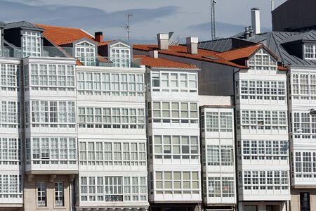 glazed windows in La Coruna, Spain photo