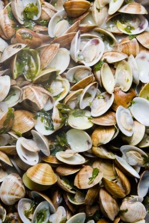 almejas: Spanish cuisine. Clams fishermans style. Almejas a la marinera.
