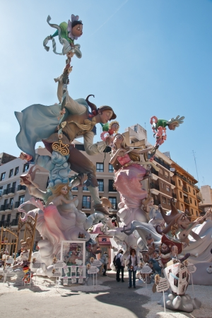 VALENCIA,SPAIN - MARCH 17:Las Fallas,papermache models are constructed then burnt in the traditional celebration in praise of St Joseph on March 17,2012 in Valencia,Spain.