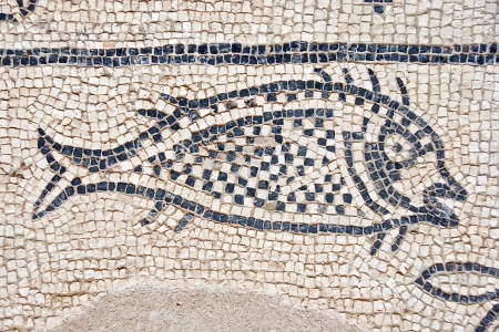 the architecture is ancient: ancient roman mosaic