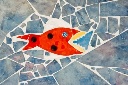 colorful mosaic of a fish photo