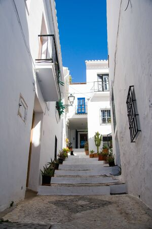 Street in Frigiliana in Costa del Sol, Malaga Province, Andalusia, Spain