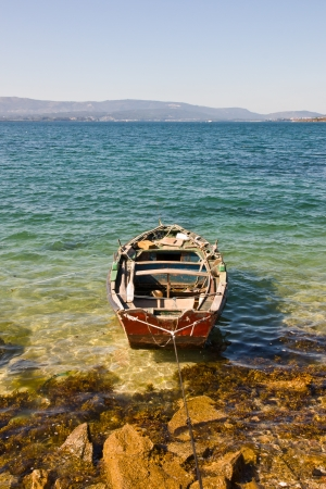 galizia: barca in Rias Baixas, Galizia, Spagna Archivio Fotografico
