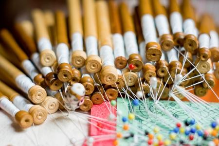 Bobbin lace, traditional handicrafts Stock Photo
