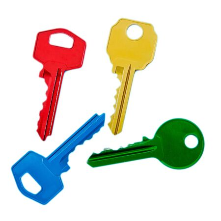 colored keys on white background Stock Photo - 18357270