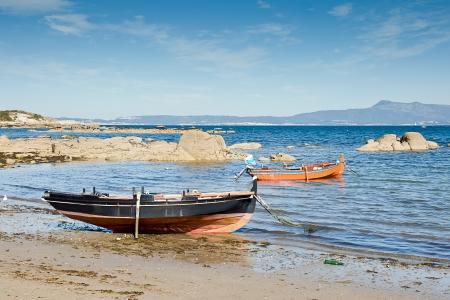 arboleda: barcos en O Grove, Pontevedra, Galicia, Espa�a