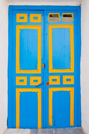 blue and yellow  wooden door Stock Photo - 18952179