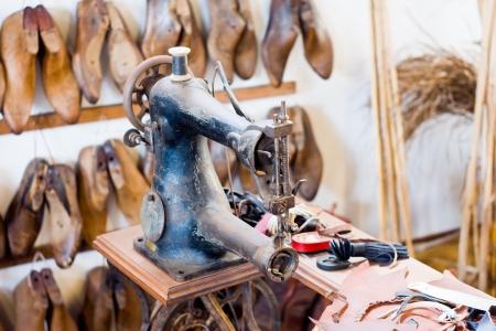 old shoe workshop Stockfoto