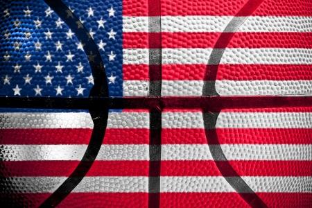 basketball ball texture, USA flag photo