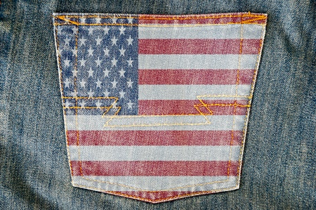 back pocket: Jeans back pocket on USA flag  Stock Photo
