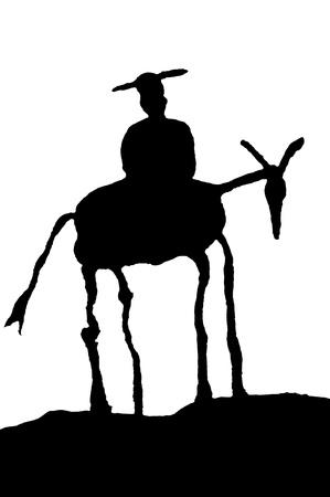 don quixote: Sancho Panza silhouette  Stock Photo