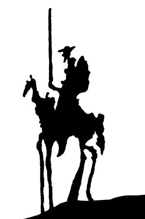 돈 Quijote 실루엣 스톡 콘텐츠
