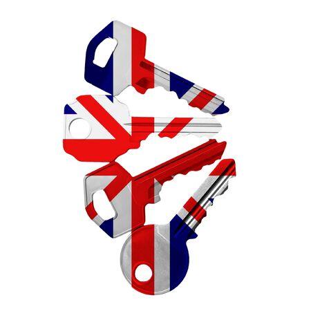 10 key: keys with UK flag Stock Photo
