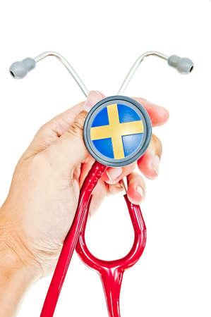 bandera de suecia: estetoscopio con bandera de Suecia
