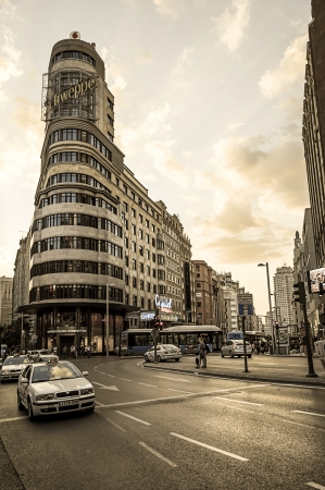 gran via: MADRID - SEPTEMBER 08: view of Gran Via street, Capitol building on September 08, 2013 in Madrid, Spain. It is most important avenues at city Editorial