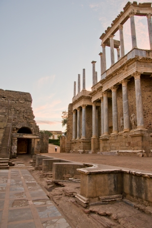 Roman theater in Merida, Badajoz, Extremadura, Spain  photo