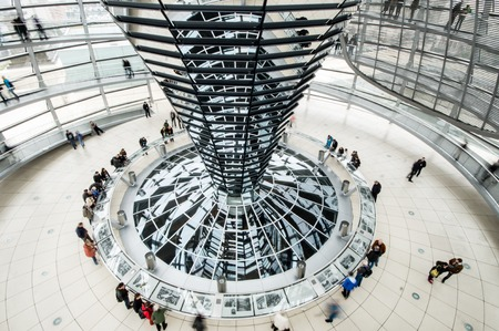 BERLIN, GERMANY - SEPTEMBER 20: View of Reichstag dome on September 20, 2013 in Berlin, Germany. The Reichstag dome is a glass dome constructed on top of the rebuilt Reichstag building.