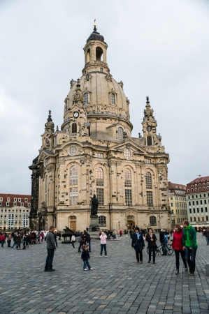 DRESDEN, GERMANY - SEPTEMBER 22: Church of Our Lady (Frauenkirche) on September 22, 2013 in Dresden, Germany. Frauenkirche was built in the 18th Century.