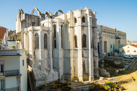 LISBOA, PORTUGAL - NOVEMBER 28: The Carmo Convent (Convento da Ordem do Carmo) on November 28, 2013 in Lisbon, Portugal. The mediaeval convent was ruined in the 1755 Lisbon Earthquake.