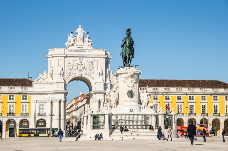 LISBOA, PORTUGAL - NOVEMBER 28: Square of Commerce (Terreiro do Paco) on November 28, 2013 in Lisbon, Portugal. On 1 February 1908, the square was the scene of the assassination of Carlos I, the penultimate King of Portugal.