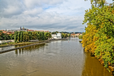 Moldova river in Prague, Czech Republic  photo
