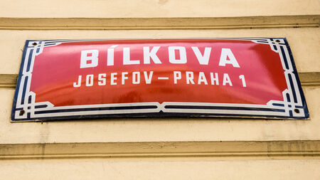 sign in a street in Prague, Czech Republic photo