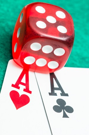 Red dice and aces photo