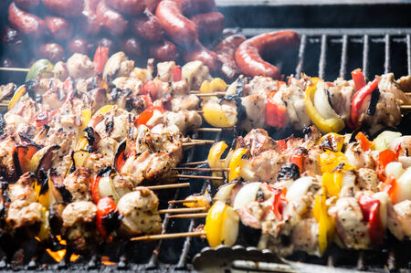 shishkabab: skewers on a barbecue